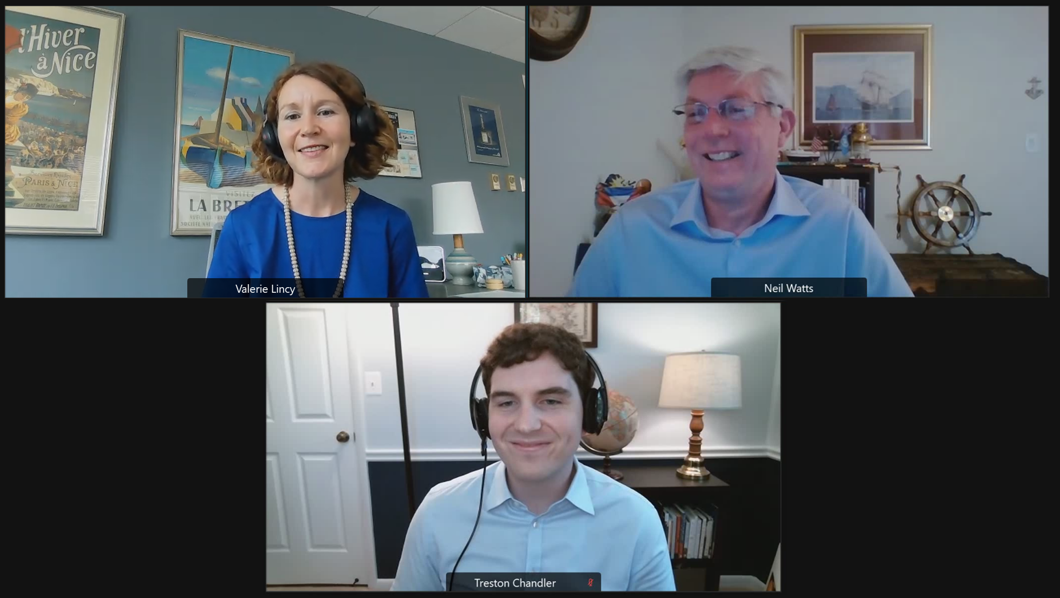 A screenshot of Neil Watts, Valerie Lincy, and Treston Chandler in a virtual meeting.