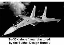 Su-30K aircraft manufactured by the Sukhoi Design Bureau