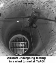 Aircraft undergoing testing in a wind tunnel at TsAGI