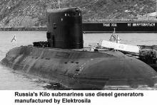 Russia's Kilo submarines use diesel generators manufactured by Elektrosila