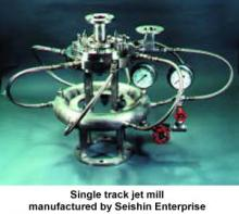 Single track jet mill manufactured by Seishin Enterprise