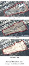 Lavizan Shian site on August 11, 2003, March 22, 2004 and May 10, 2004 (Image courtesy of Digital Global/ISIS)