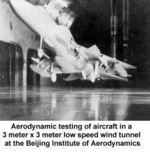 Aerodynamic testing of aircraft in a 3 meter x 3 meter low speed wind tunnel at the Beijing Institute of Aerodynamics